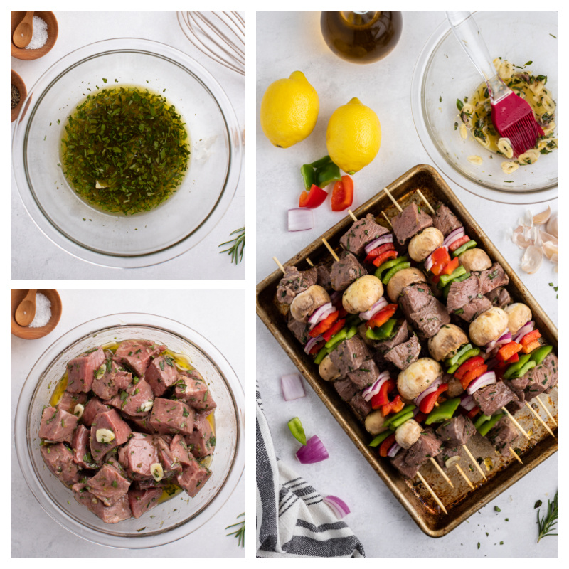 three photos showing marinade in a bowl, steak with marinade in bowl and assembled steak kebabs ready for grill