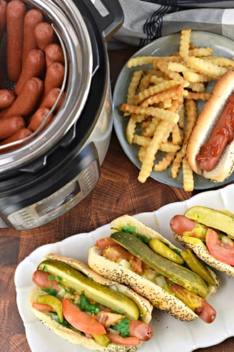 instant pot hot dogs on a platter