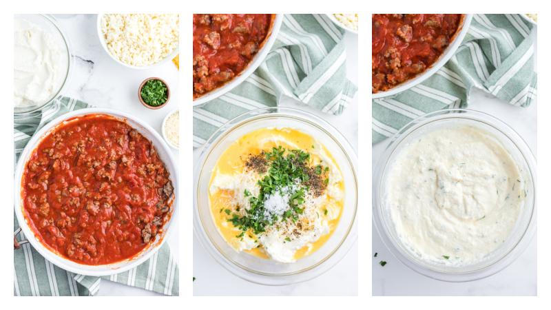 three photos: sausage marinara in bowl, egg mixture in bowl, ricotta mixture in bowl