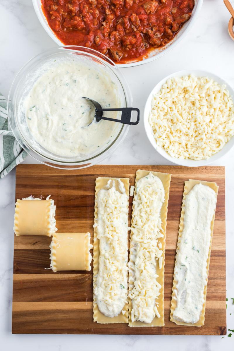 showing process of making lasagna roll ups