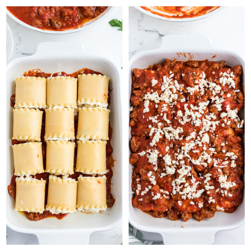 lasagna roll ups in a pan, and then second photo showing covered in sauce