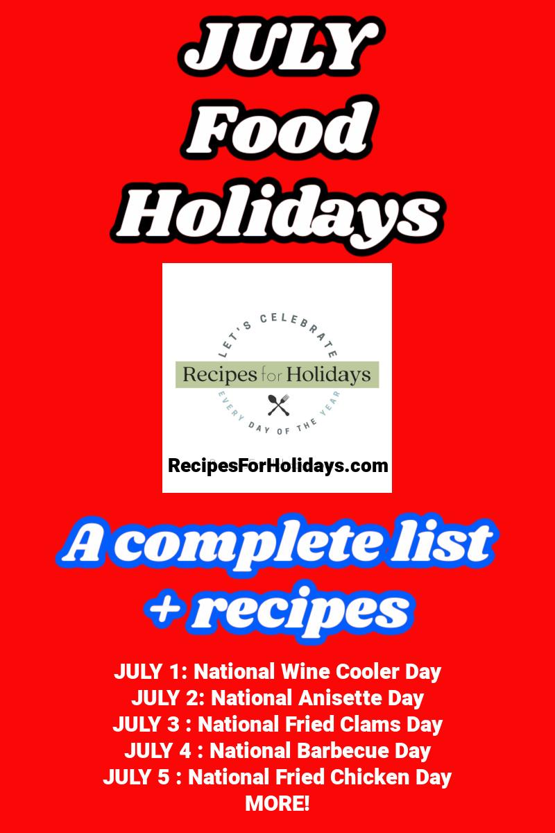 july food holiidays from RecipesForHolidays.com