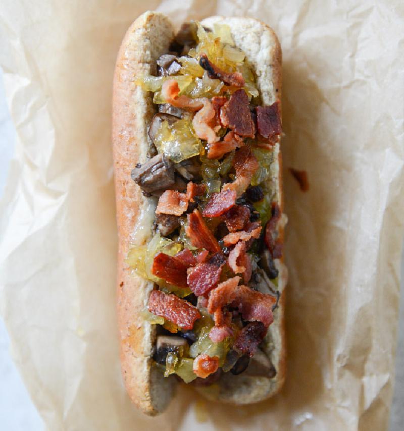 loaded cheddar hot dog