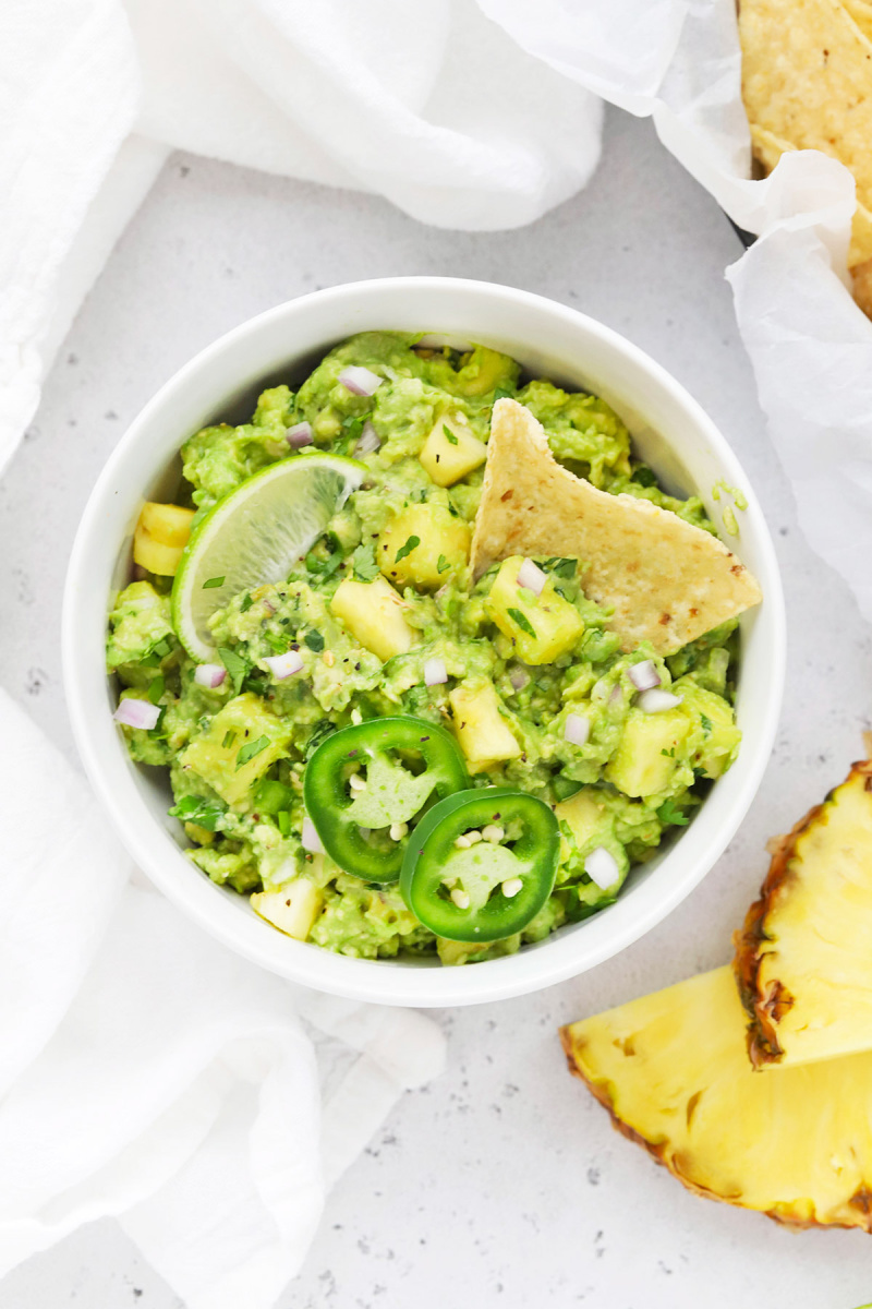 pineapple guacamole in a white bowl