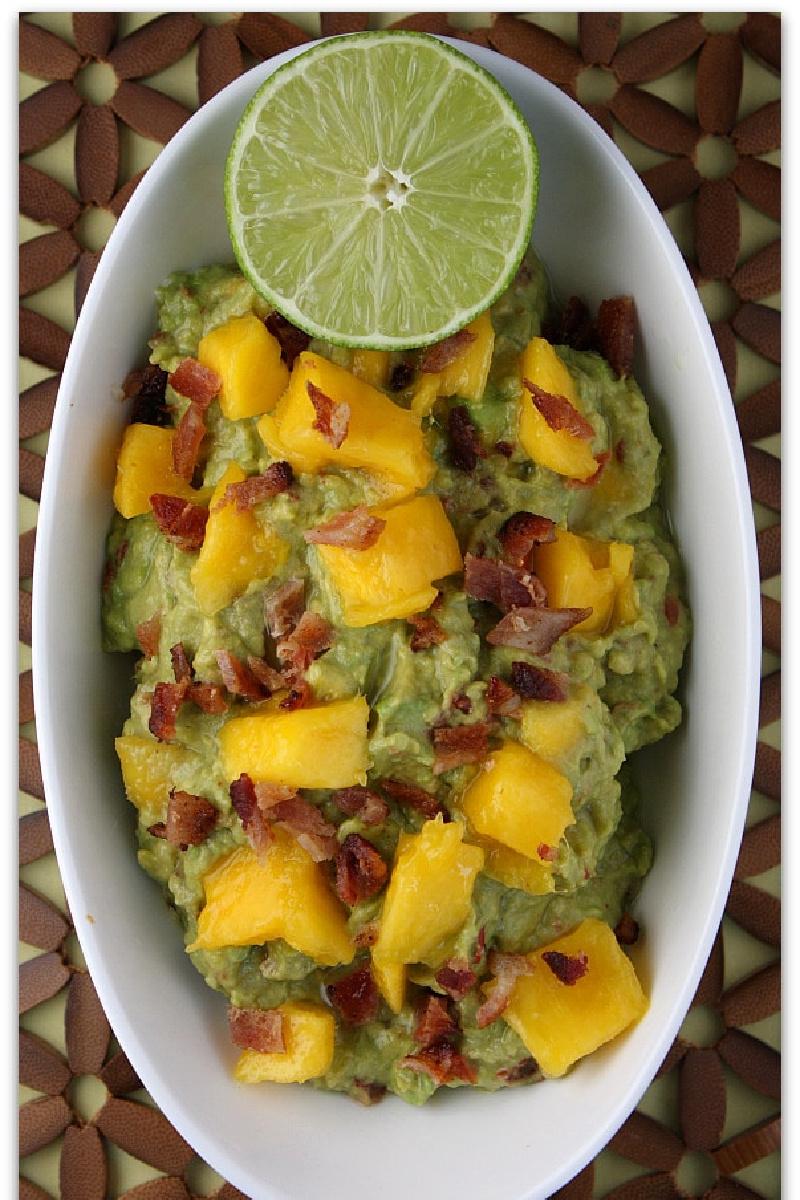 mango guacamole in a white bowl