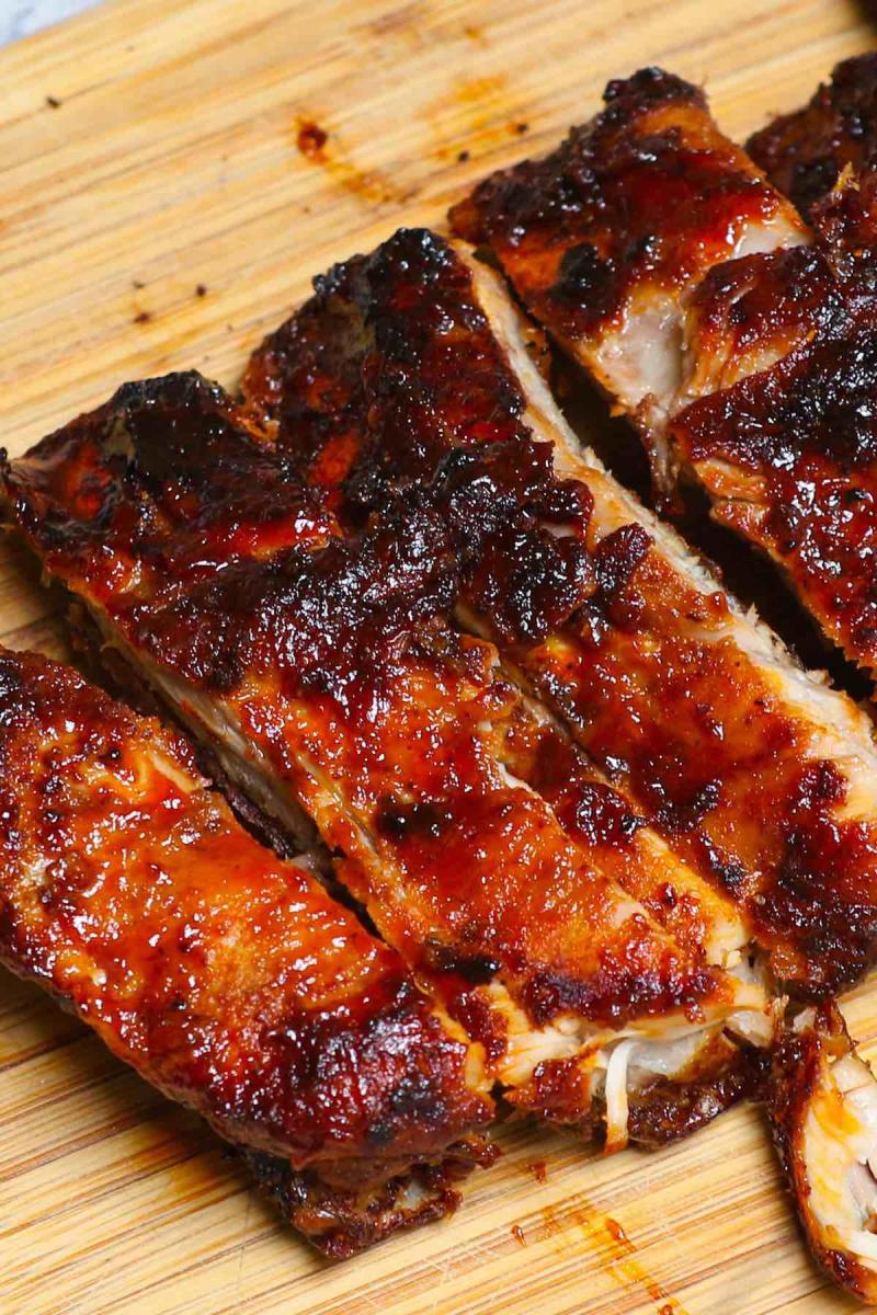 air fryer bbq ribs on a cutting board