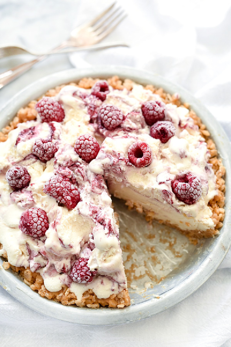 4 ingredient ice cream pie with a slice taken out of it