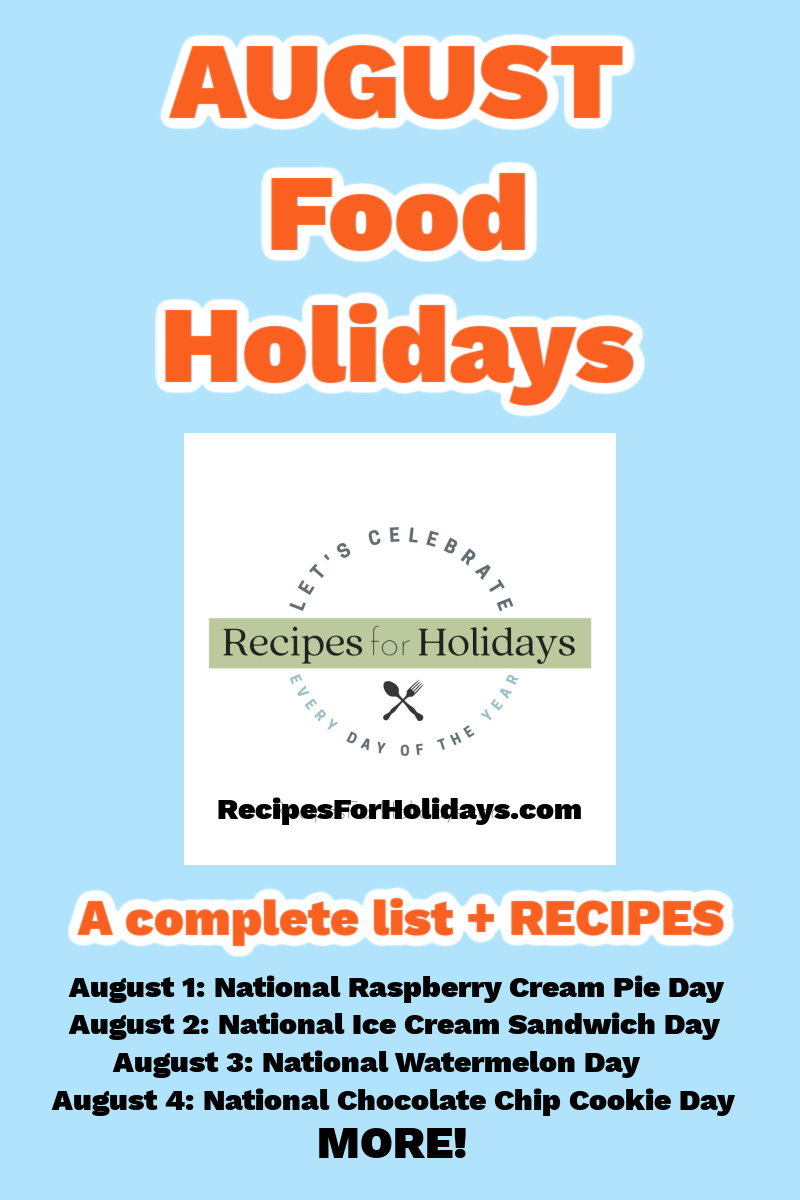 August food holidays for pinterest