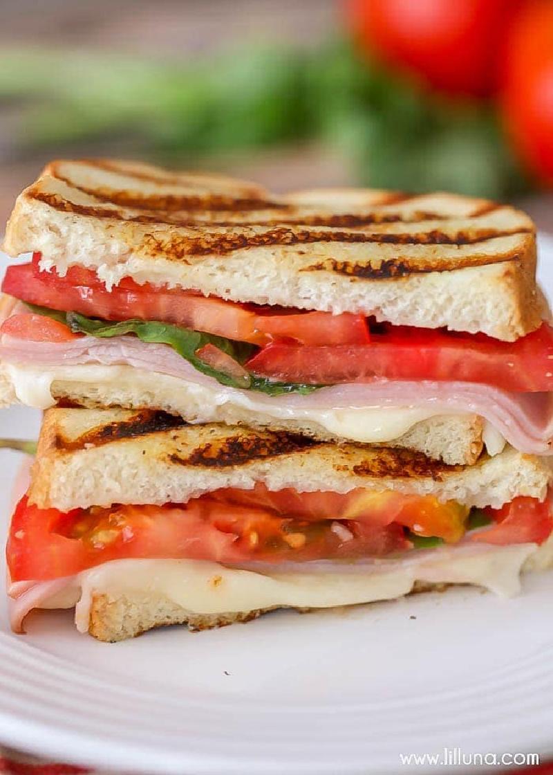 two slices stacked bruschetta panini
