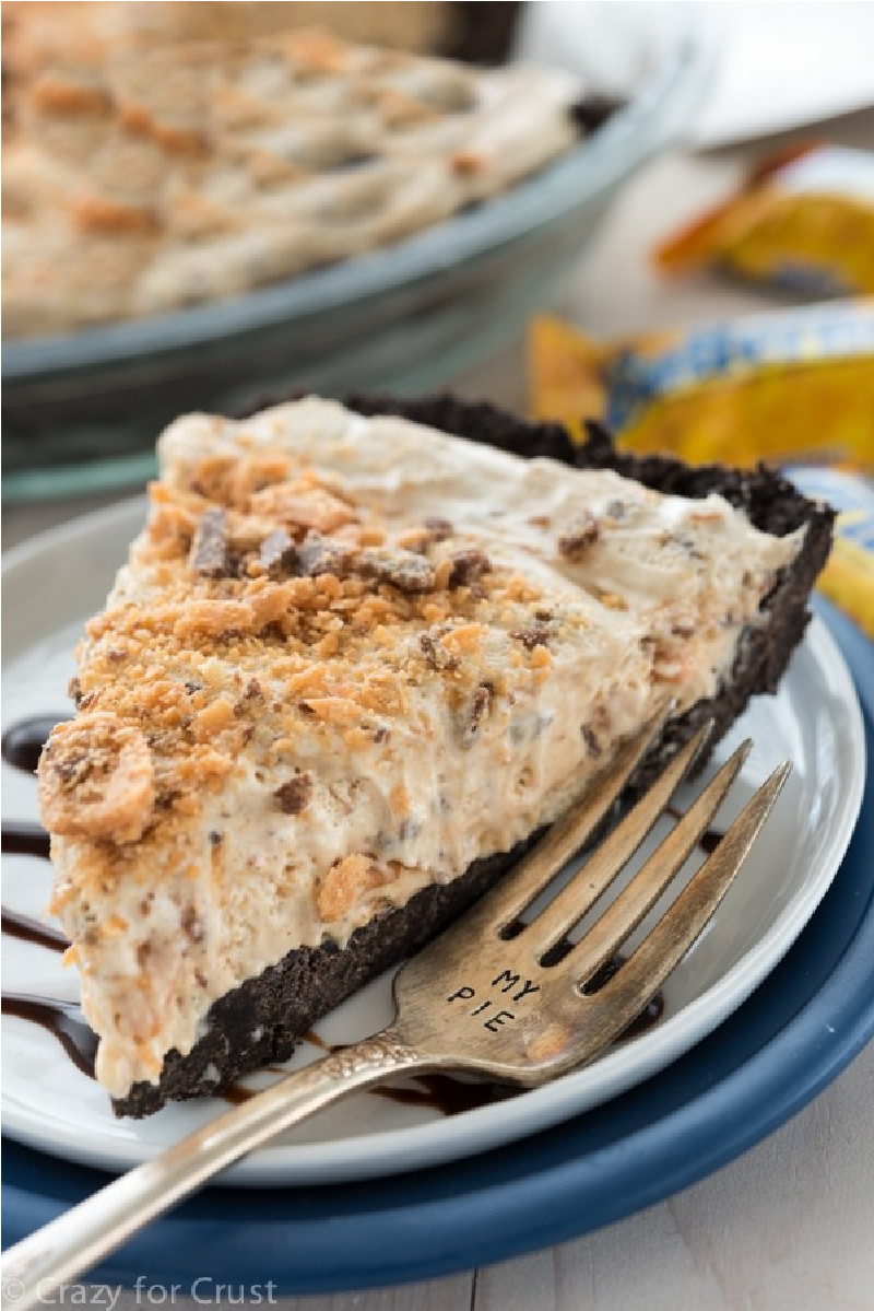 slice of butterfinger ice cream pie