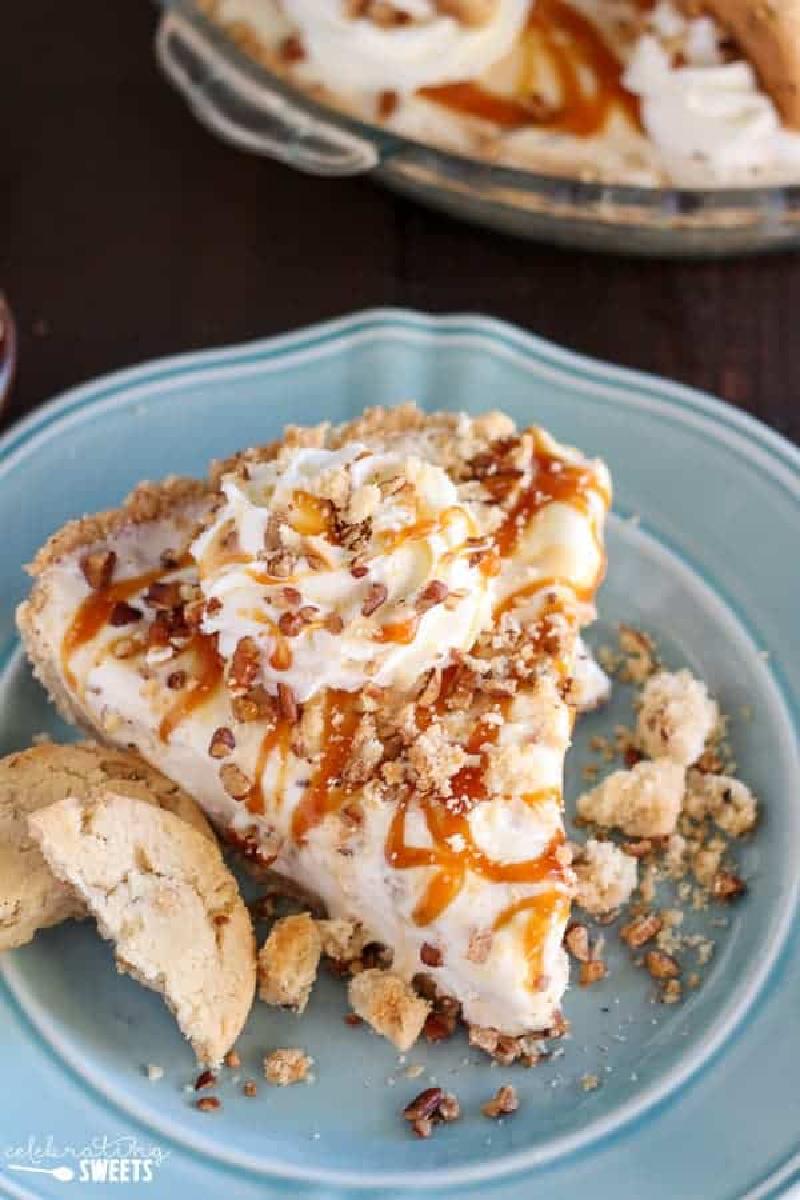 slice of caramel butter pecan ice cream pie
