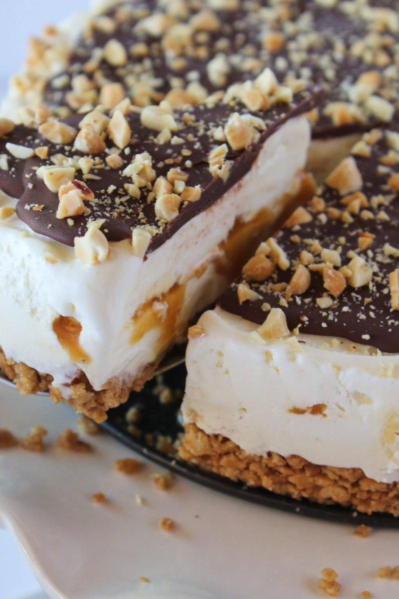 cutting into caramel drumstick ice cream pie