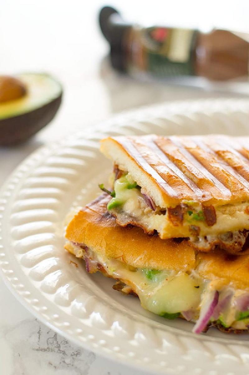 chipotle turkey panini on white plate