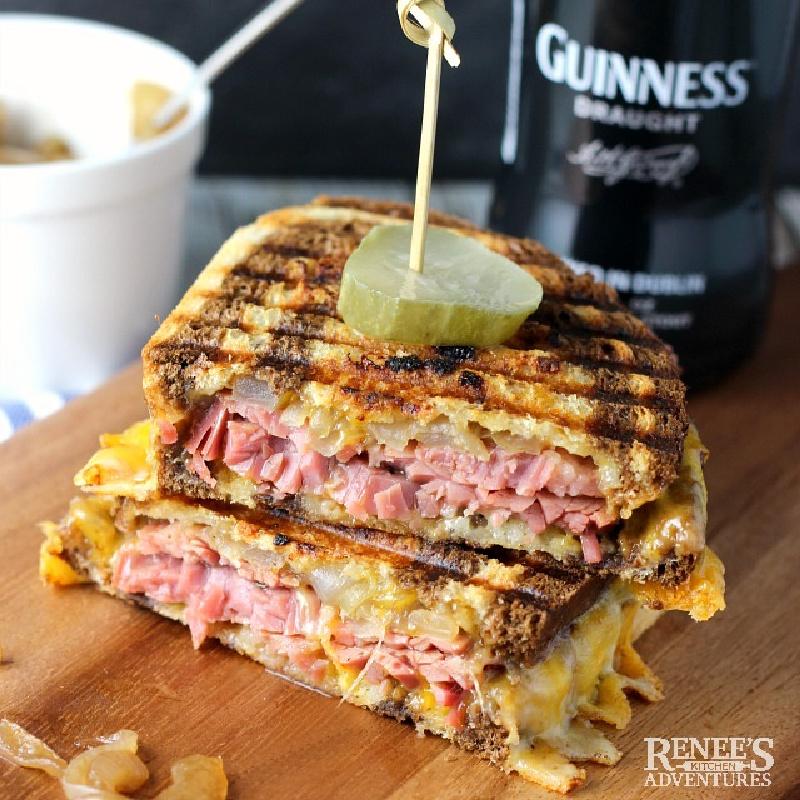 stacked corned beef panini