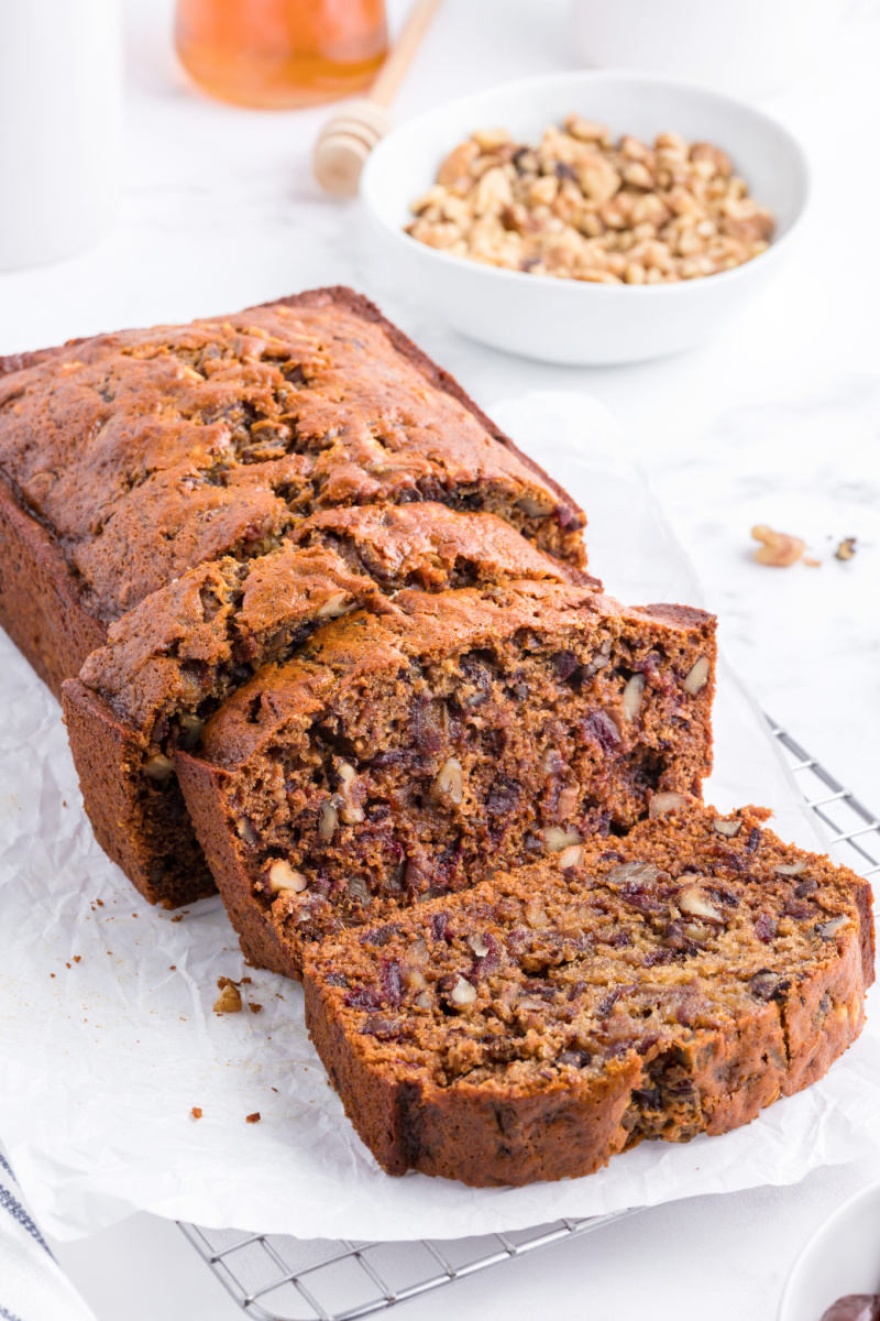 date nut bread loaf cut into slices