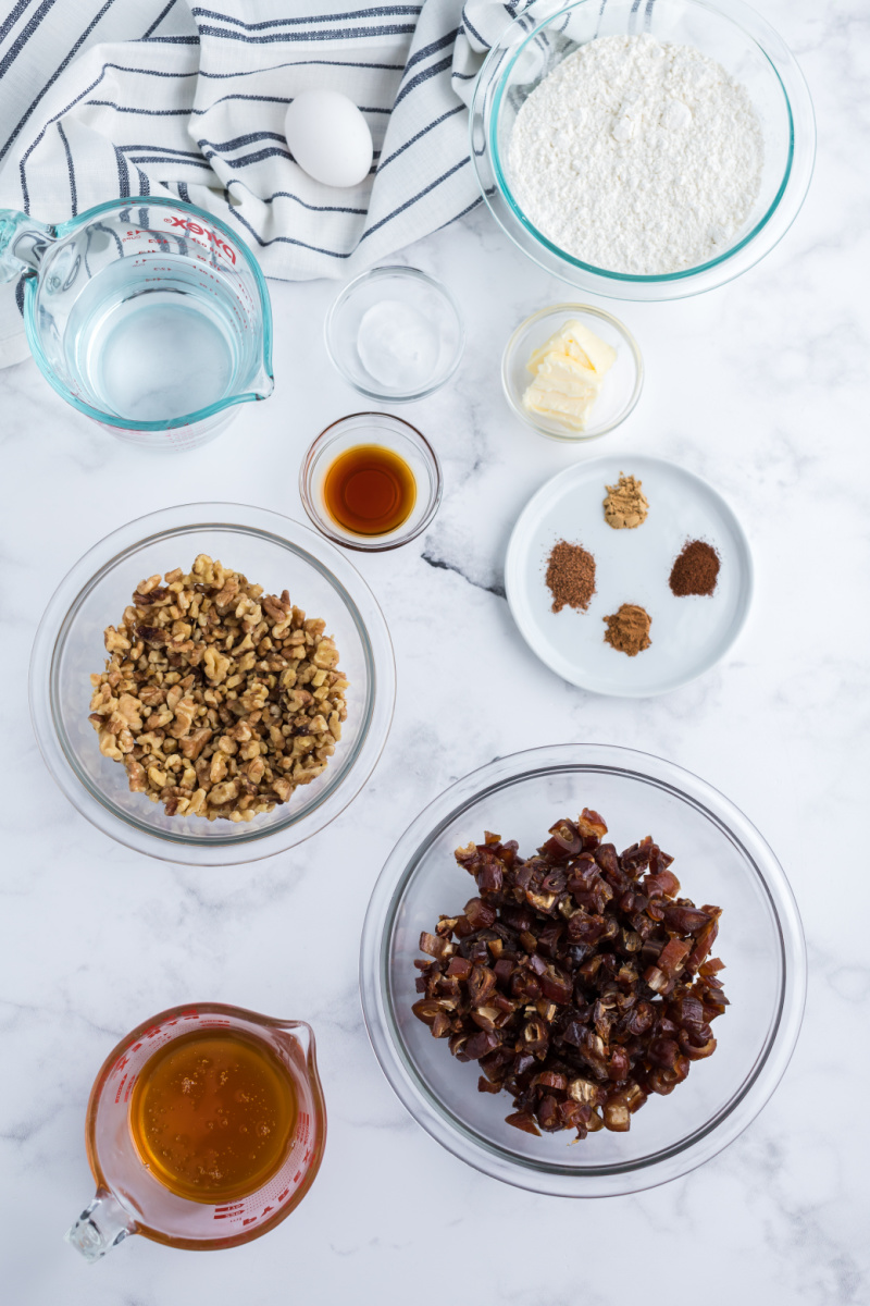 ingredients displayed for making date nut bread