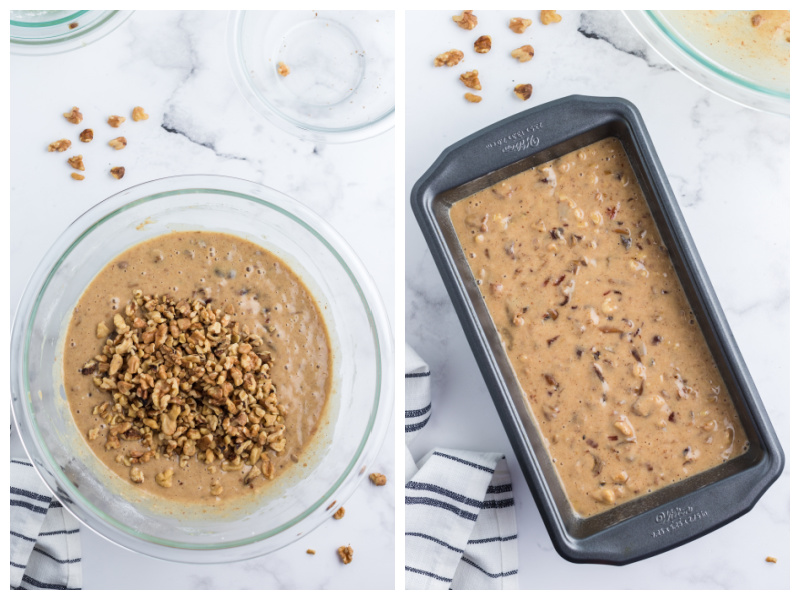 date nut bread batter in a bowl and then in a loaf pan