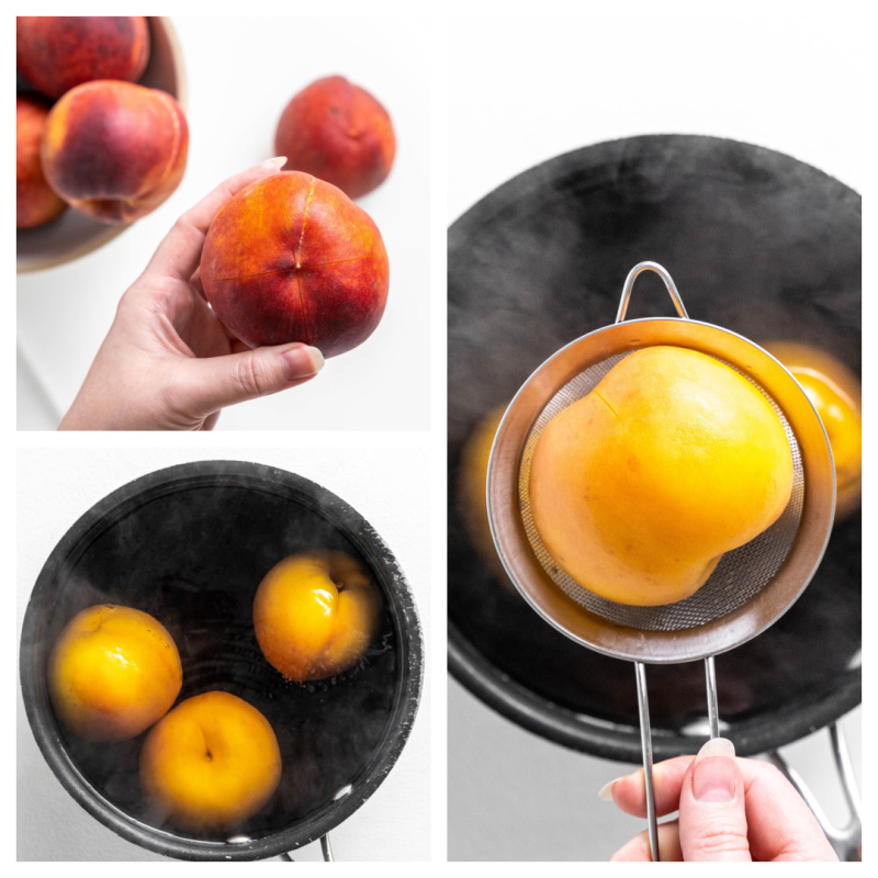 three photos showing blanching peaches in boiling water