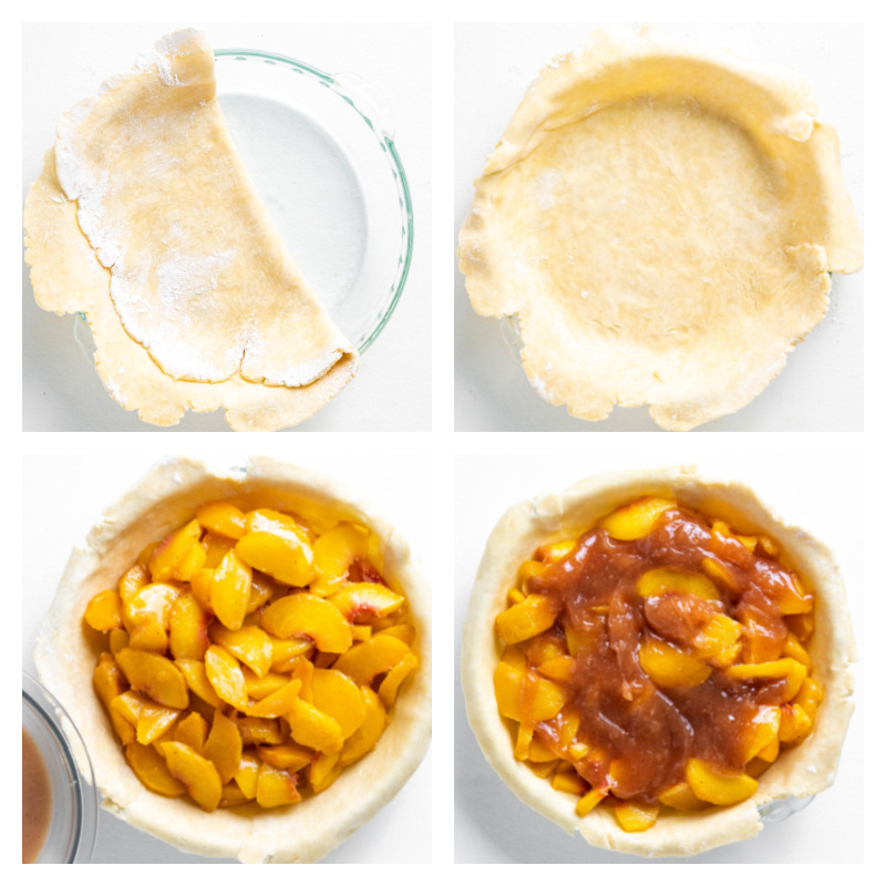 four photos showing pie crust and adding peach filling