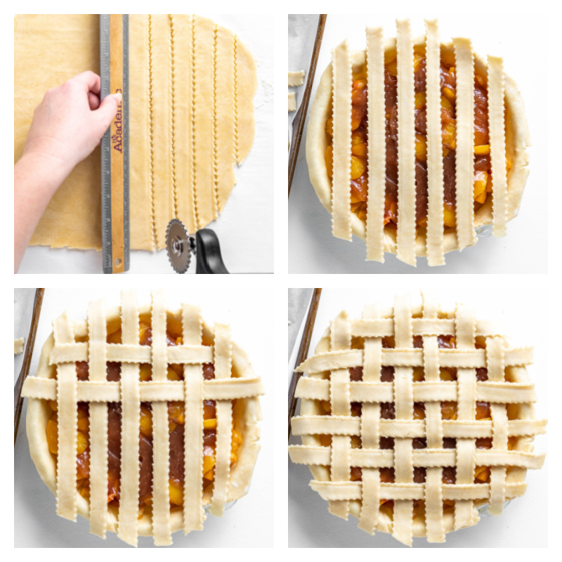 four photos showing how to form a lattice top for pie