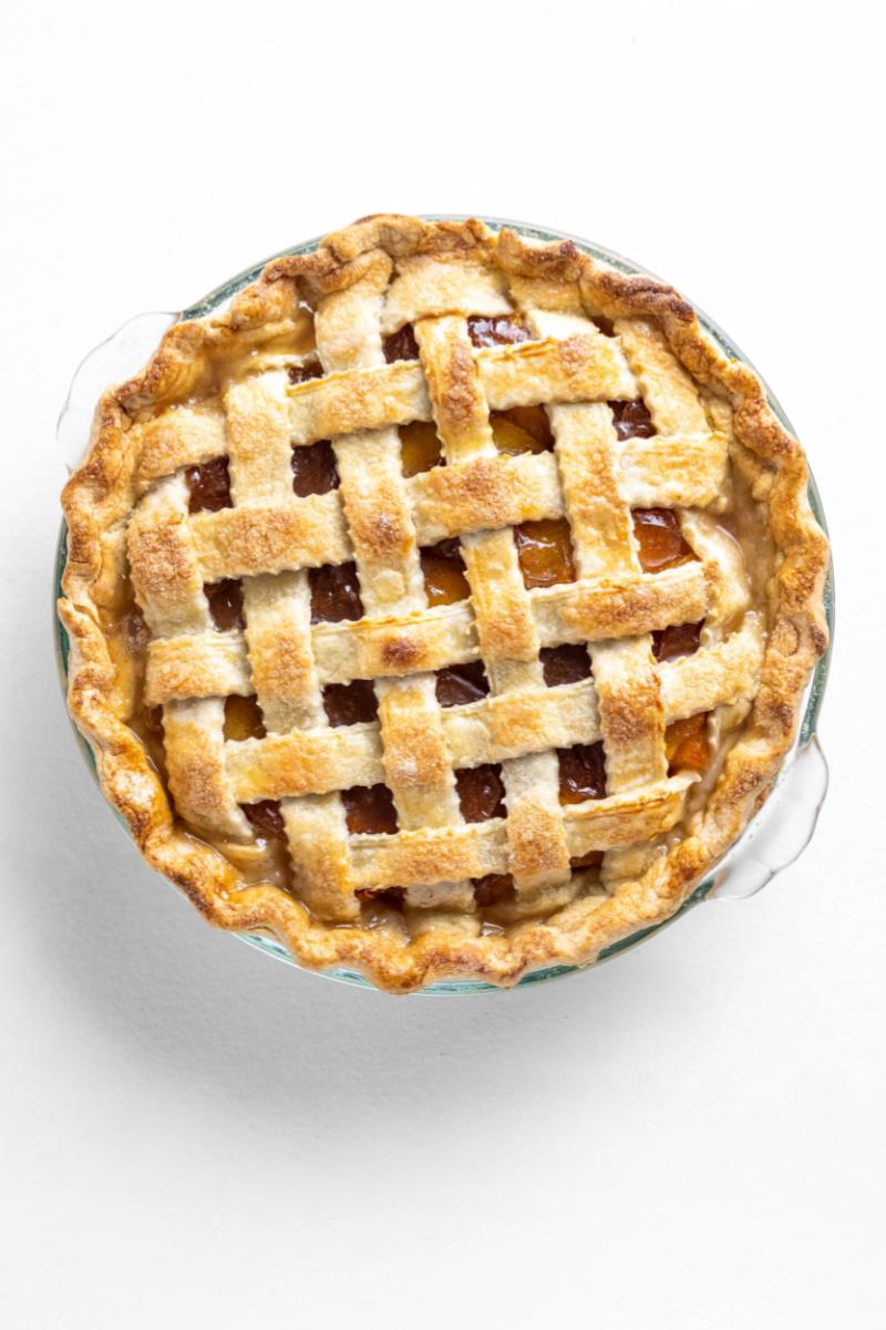 lattice topped fresh peach pie