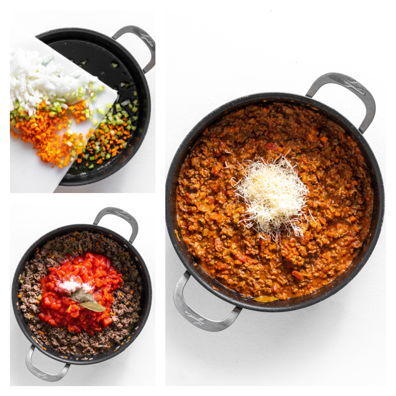 three photos showing making of bolognese sauce