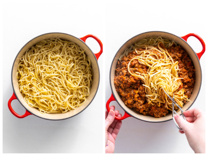pot of linguine and pot with sauce