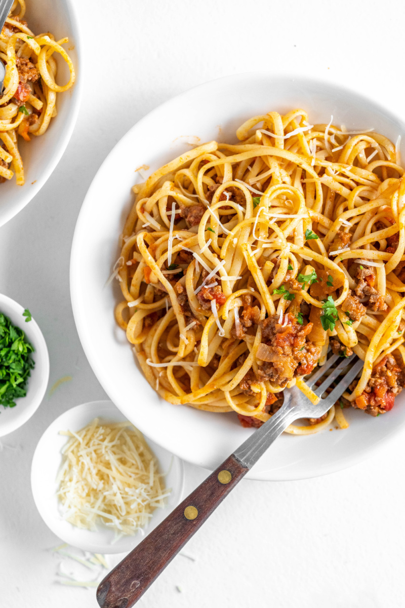 linguine with bolognese in a bowl