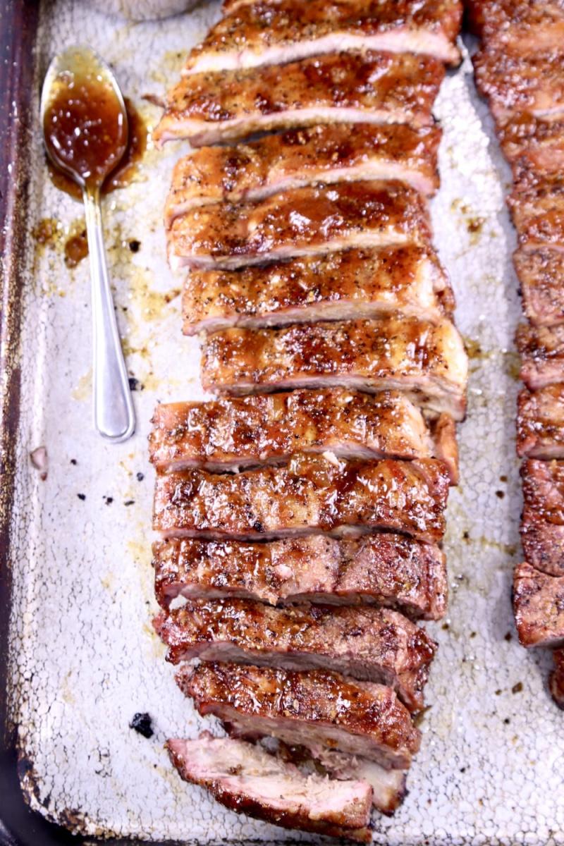 peach bbq ribs cut into pieces