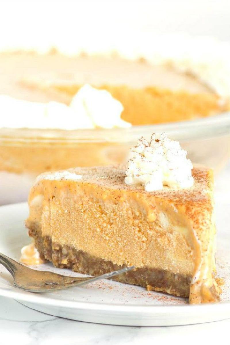 slice of pumpkin ice cream pie