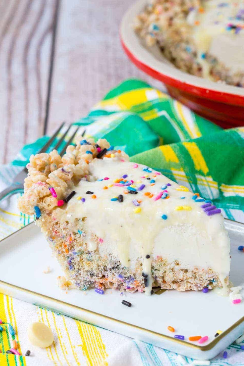 slice of sprinkle ice cream pie