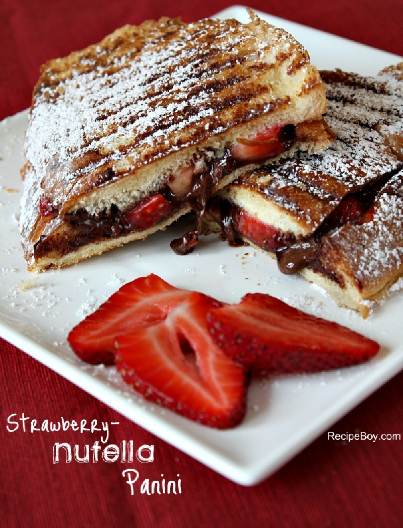 strawberry nutella panini on a white plate