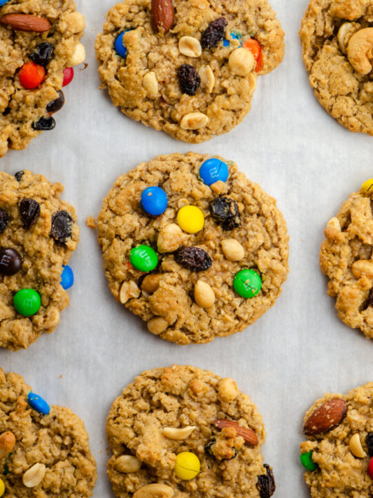 trail mix cookies on a baking sheet