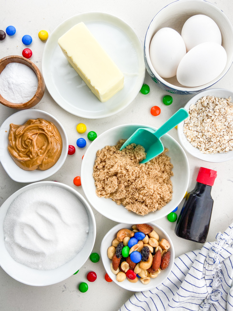 ingredients displayed for making trail mix cookies