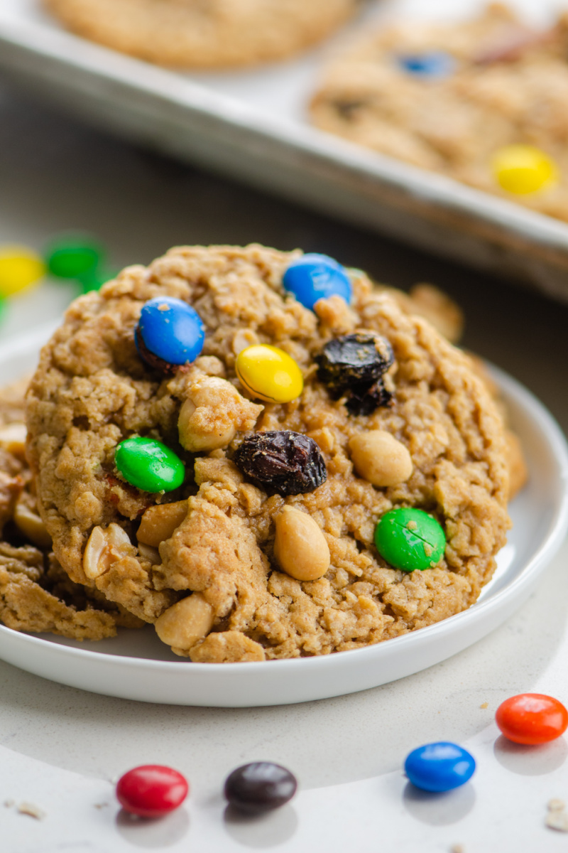 trail mix cookie on a plate