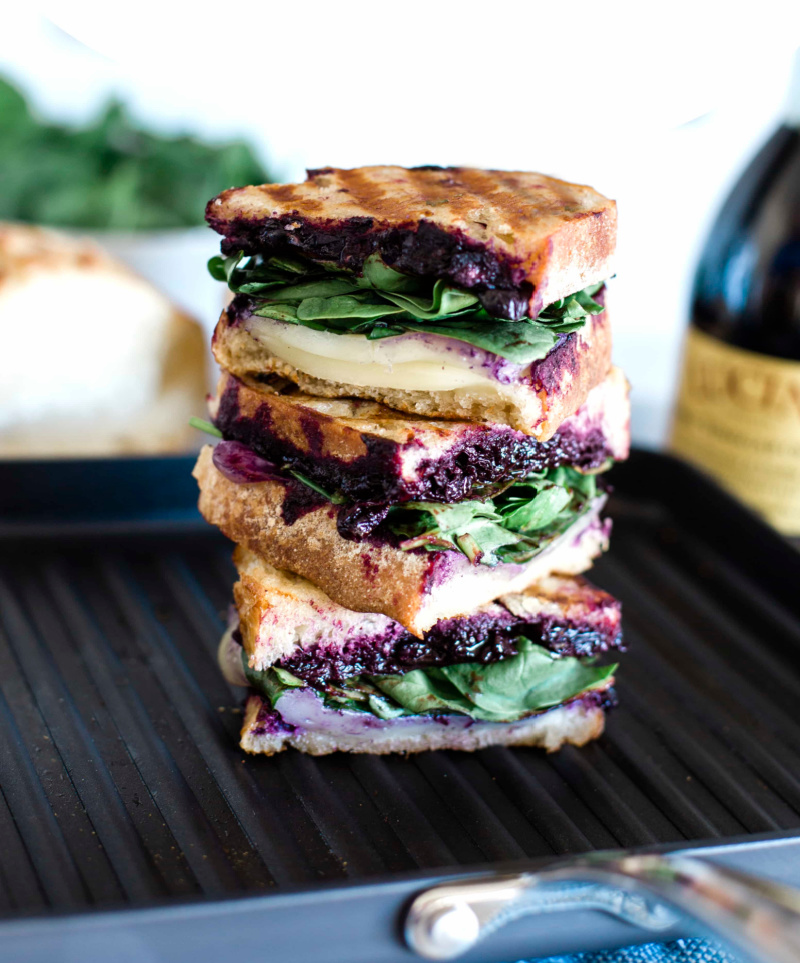 three slices stacked blueberry panini