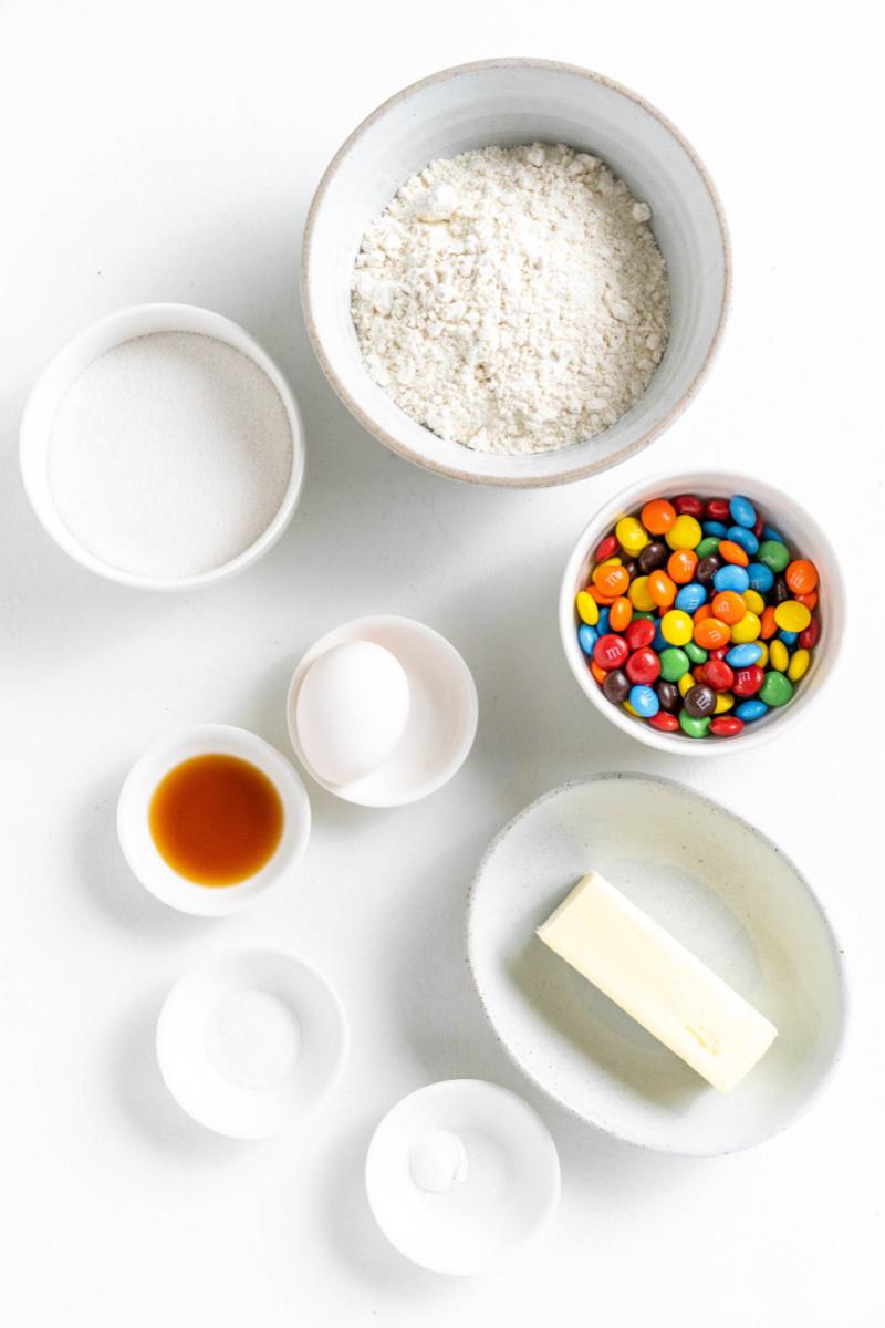 ingredients displayed for making Giant M&M Cookies