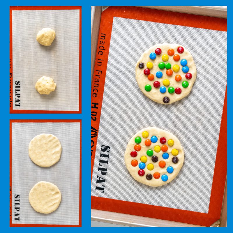 three photos showing prep of making giant M&M cookies: dough, flattened and M&M's added