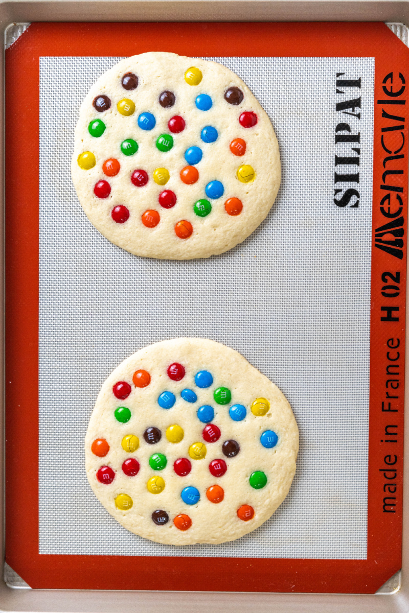 Giant M&M Cookies on baking sheet